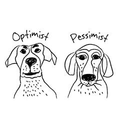 Dog faces emotions optimism pessimism vector