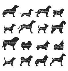 Dogs profile silhouette icon set vector