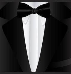 Elegant suit with tie bow icon vector