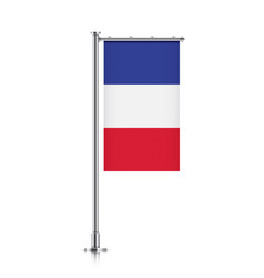 Flag of france hanging on a pole vector