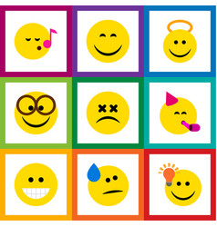 Flat icon expression set of grin cross-eyed face vector