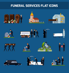 Funeral services flat icon set vector