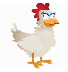 Funny fancy white rooster cartoon character vector