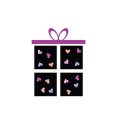 gift box icon with heart vector image vector image