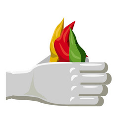 hands of a magician with colorful scarves icon vector image vector image
