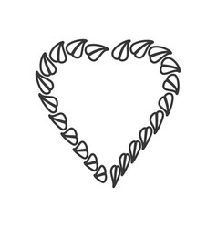 Heart leave organic emblem line vector