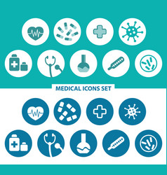 Medical icons set heart pills medical cros vector