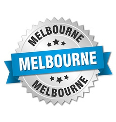 Melbourne round silver badge with blue ribbon vector
