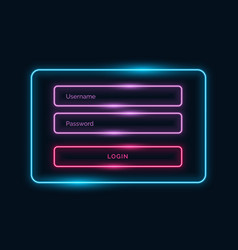 Neon style login ui form design with shiny effect vector