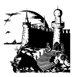 Old dark gloomy castle vector