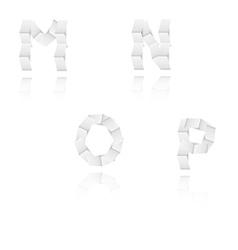 paper alphabet letters font M N O P vector image vector image