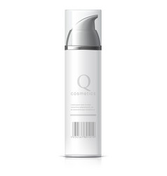 Realistic white cosmetics bottle can spray vector