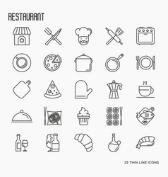 restaurant thin line icons set vector image vector image