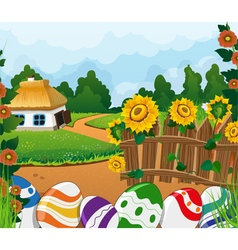 Rural landscape with house and painted easter eggs vector