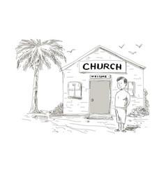 Samoan boy stand by church cartoon vector