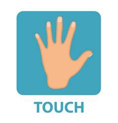 sense of touch icon flat style hand isolated on vector image vector image