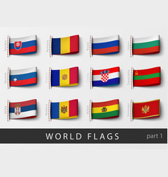 Set of flag labels of all countries vector