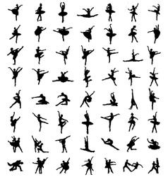 Silhouettes of ballerinas vector