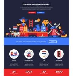 Traveling to Netherlands website header banner vector image vector image