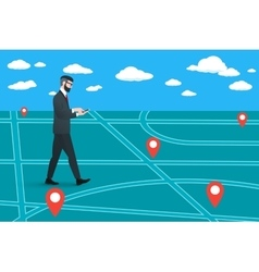 Trendy nerd hipster pedestrian goes on a virtual vector image vector image