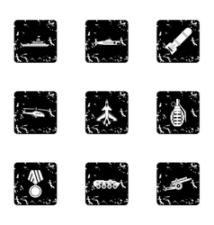 Weapons icons set grunge style vector