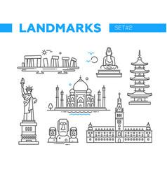 World famous landmarks - line design icons set vector