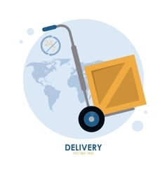 Cart with package icon fast delivery design vector