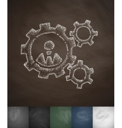 Mechanism icon hand drawn vector