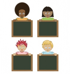 Kids holding blackboards vector