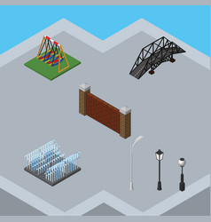 Isometric urban set of street lanterns expressway vector
