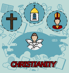 christianity flat concept icons vector image