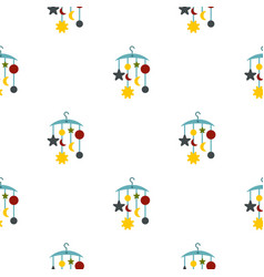 Baby bed carousel pattern flat vector