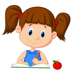 Cute girl cartoon writing on a book vector