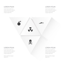 Icon conflict set of biology peril bone bomb and vector