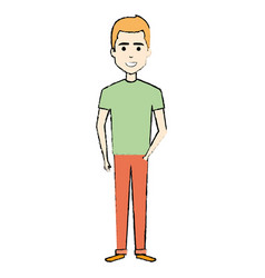 Young man standing avatar character vector