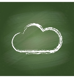 Smudged green chalkboard with hand-drawn cloud vector