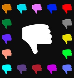 Dislike thumb down hand finger down icon sign lots vector