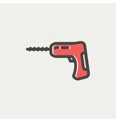 Hammer drill thin line icon vector