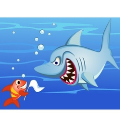 shark and small fish vector image