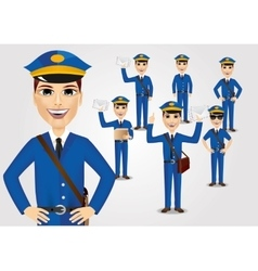 Set of friendly young postmen with bag vector