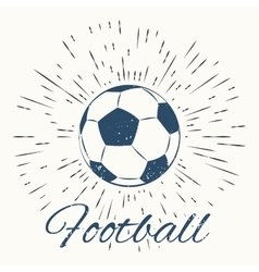 Soccer ball and vintage sun burst frame vector