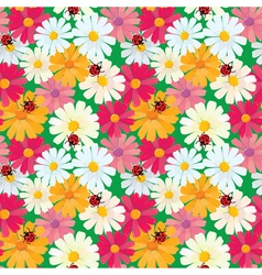 Seamless pattern with chamomile flowers and ladybi vector