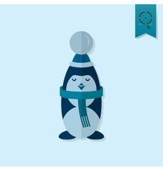 Christmas penguin monochrome color vector