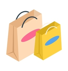 Shopping bags isometric 3d icon vector