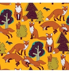 Fox in forest color seamless nature pattern vector