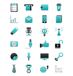 Turquoise black business icons set vector