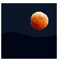 Polygon orange moon vector
