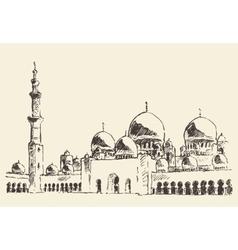 Abu dhabi main mosque sheikh zayed mosque drawn vector