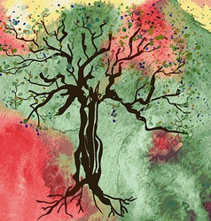 Autumn tree card with watercolor abstract vector image