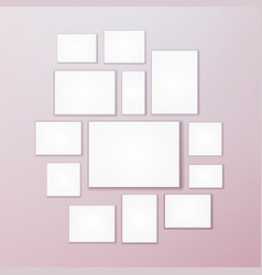 Blank white 3d paper canvas posters mock vector